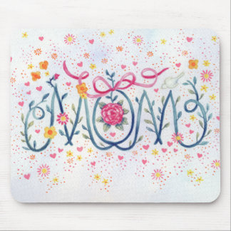 """Mother's Day """"Mom""""  Painted in Vine and Flowers Mouse Pad"""