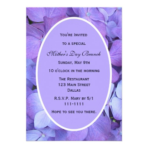 Mothers Day Party Invitation -- Hydrangeas for Mom Announcement