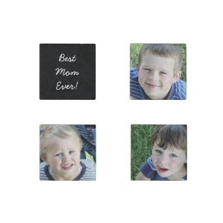 Mother's Day personalised photo stone magnet set