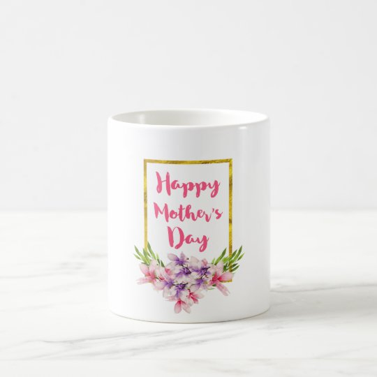 Mother's Day Pink and Purple Watercolor Magnolias Coffee