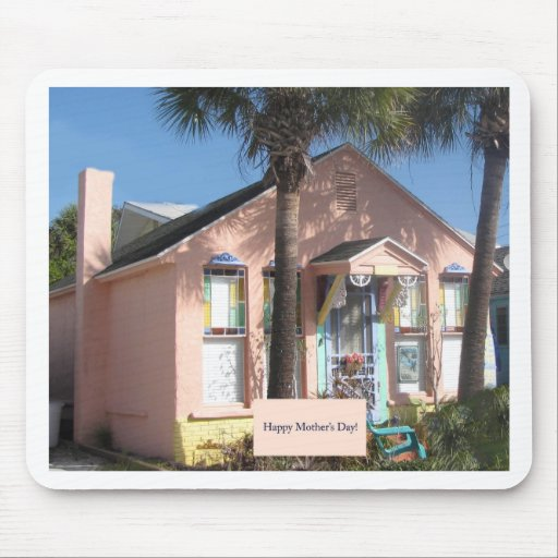 Mother's Day Pink Florida Beach Cottage Mousepads