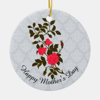Mother's Day Pink Rose Sprig Christmas Ornament
