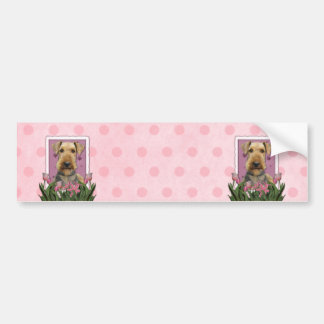 Mothers Day - Pink Tulips - Airedale Bumper Sticker