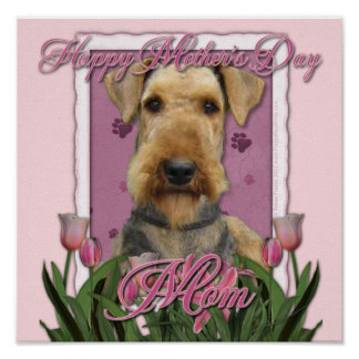 Mothers Day - Pink Tulips - Airedale Poster