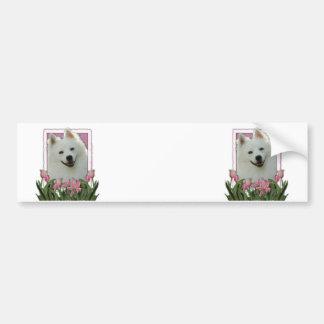 Mothers Day - Pink Tulips - American Eskimo Bumper Sticker