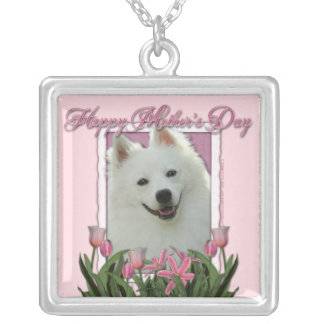 Mothers Day - Pink Tulips - American Eskimo Silver Plated Necklace