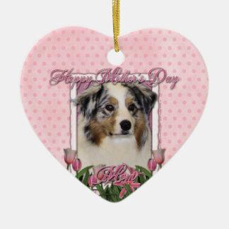Mothers Day - Pink Tulips - Australia Shepherd Ornaments