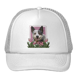 Mothers Day - Pink Tulips - Australian Cattle Dog Mesh Hats