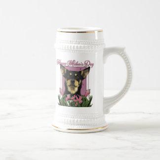 Mothers Day - Pink Tulips - Australian Kelpie Jude Beer Stein