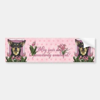 Mothers Day - Pink Tulips - Australian Kelpie Jude Car Bumper Sticker
