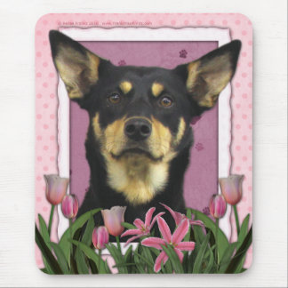 Mothers Day - Pink Tulips - Australian Kelpie Jude Mouse Mat