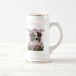 Mothers Day - Pink Tulips - Australian Shepherd Beer Steins