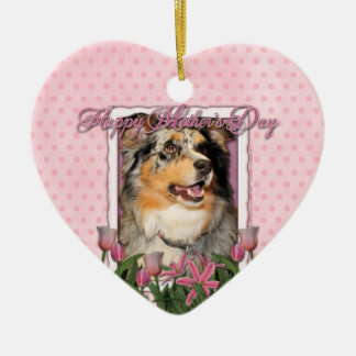 Mothers Day - Pink Tulips - Australian Shepherd Christmas Tree Ornament