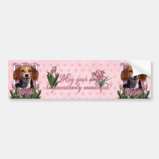 Mothers Day - Pink Tulips - Beagle Bumper Sticker