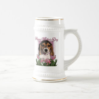 Mothers Day - Pink Tulips - Beagle Puppy Beer Stein