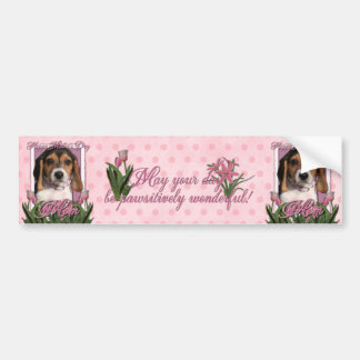 Mothers Day - Pink Tulips - Beagle Puppy Bumper Sticker