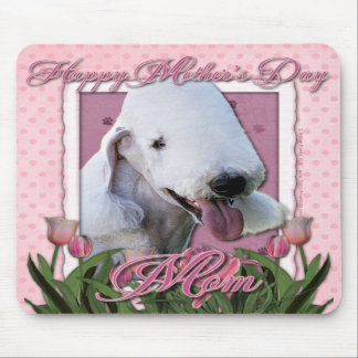Mothers Day - Pink Tulips - Bedlington Terrier Mousepads