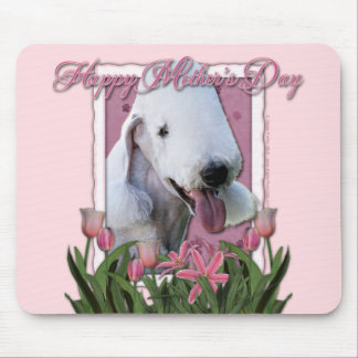 Mothers Day - Pink Tulips - Bedlington Terrier Mouse Pad