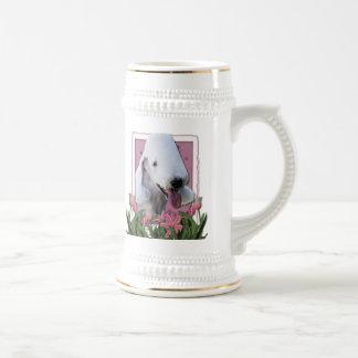 Mothers Day - Pink Tulips - Bedlington Terrier Coffee Mugs