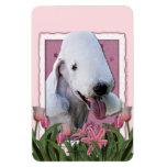 Mothers Day - Pink Tulips - Bedlington Terrier Flexible Magnets