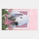 Mothers Day - Pink Tulips - Bedlington Terrier Rectangular Stickers