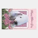 Mothers Day - Pink Tulips - Bedlington Terrier Rectangular Sticker