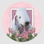 Mothers Day - Pink Tulips - Bedlington Terrier Round Stickers