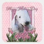 Mothers Day - Pink Tulips - Bedlington Terrier Sticker
