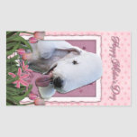 Mothers Day - Pink Tulips - Bedlington Terrier Rectangle Stickers