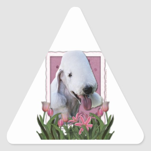Mothers Day - Pink Tulips - Bedlington Terrier Triangle Sticker