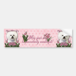 Mothers Day - Pink Tulips - Bichon Frise Bumper Sticker