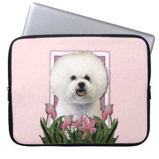 Mothers Day - Pink Tulips - Bichon Frise Computer Sleeve
