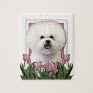 Mothers Day - Pink Tulips - Bichon Frise Jigsaw Puzzle