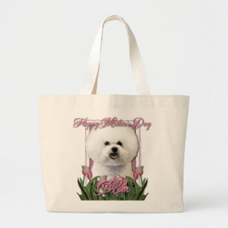 Mothers Day - Pink Tulips - Bichon Frise Large Tote Bag