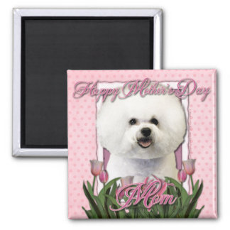 Mothers Day - Pink Tulips - Bichon Frise Magnet