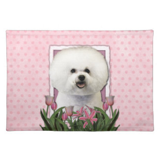 Mothers Day - Pink Tulips - Bichon Frise Placemat