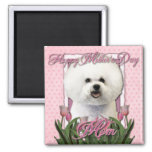 Mothers Day - Pink Tulips - Bichon Frise Square Magnet