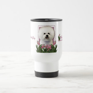 Mothers Day - Pink Tulips - Bichon Frise Travel Mug