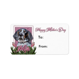 Mothers Day - Pink Tulips - Bluetick Coonhound Address Label