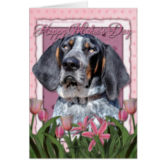 Mothers Day - Pink Tulips - Bluetick Coonhound Greeting Card
