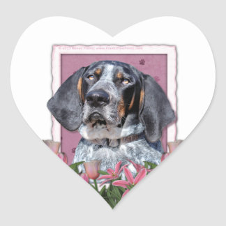 Mothers Day - Pink Tulips - Bluetick Coonhound Heart Sticker
