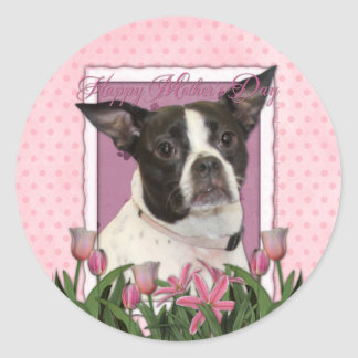 Mothers Day - Pink Tulips Boston & Rat Terrier Mix Round Sticker