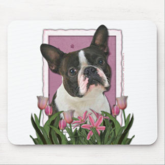 Mothers Day - Pink Tulips - Boston Terrier Mouse Mat