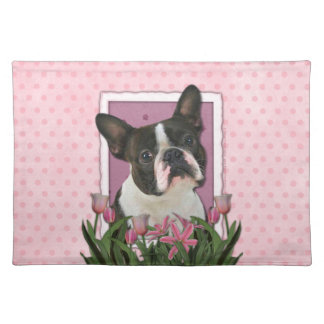 Mothers Day - Pink Tulips - Boston Terrier Placemat