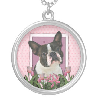 Mothers Day - Pink Tulips - Boston Terrier Silver Plated Necklace