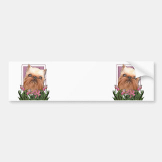 Mothers Day - Pink Tulips - Brussels Griffon Bumper Sticker