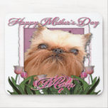 Mothers Day - Pink Tulips - Brussels Griffon Mousemat