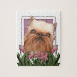 Mothers Day - Pink Tulips - Brussels Griffon Puzzle