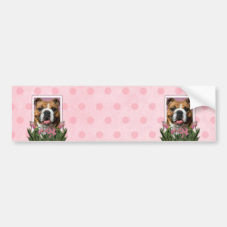 Mothers Day - Pink Tulips - Bulldog Bumper Sticker