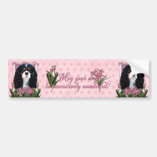 Mothers Day - Pink Tulips - Cavalier - Tri-Color Bumper Sticker